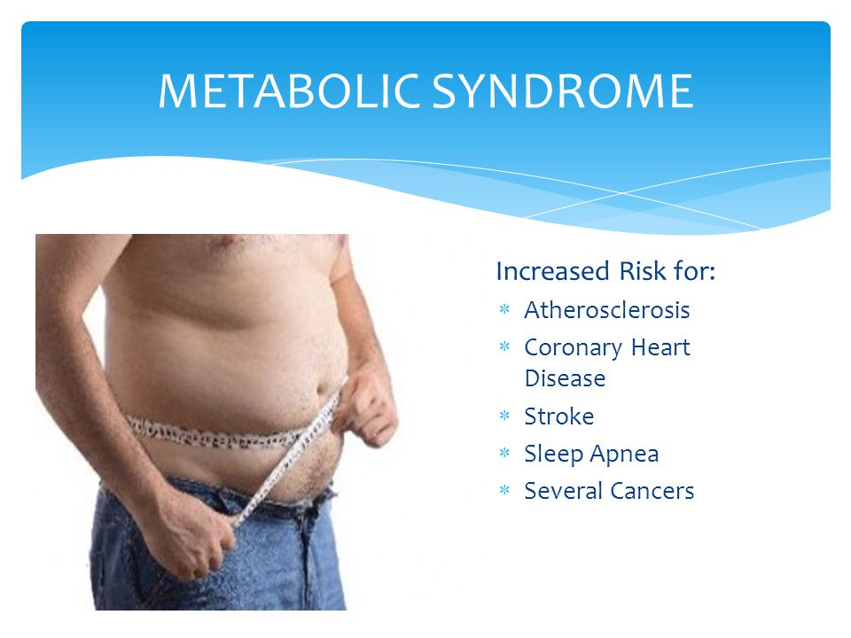 METABOLIC SYNDROME Increased Risk for: Atherosclerosis