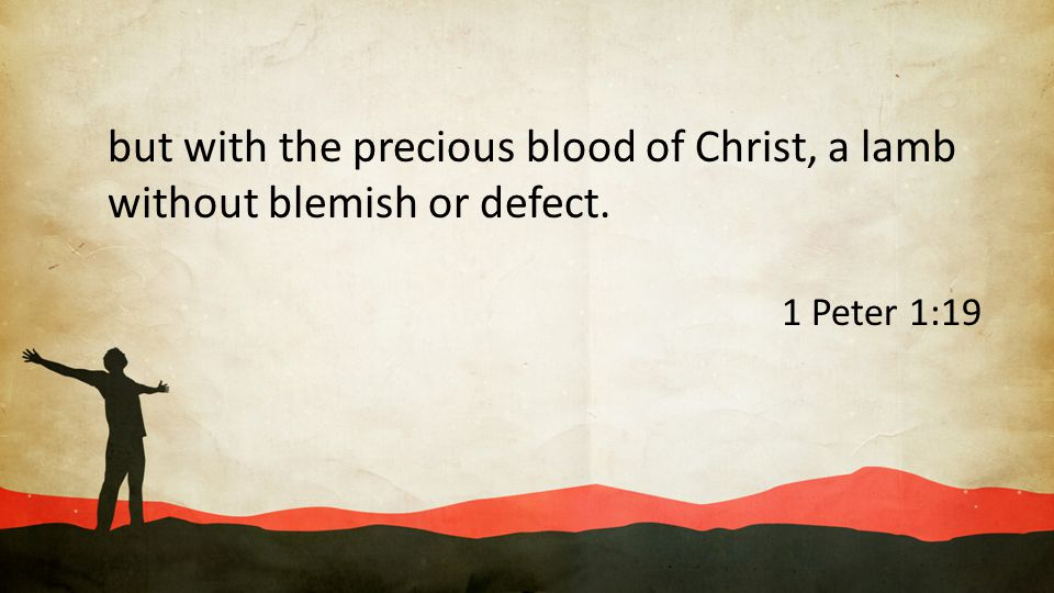 but with the precious blood of Christ, a lamb without blemish or defect.