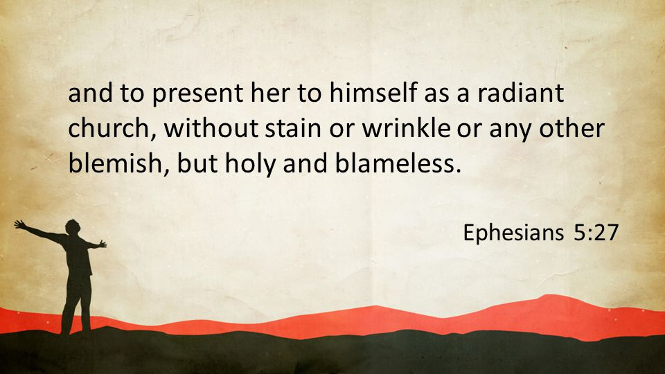 and to present her to himself as a radiant church, without stain or wrinkle or any other blemish, but holy and blameless.
