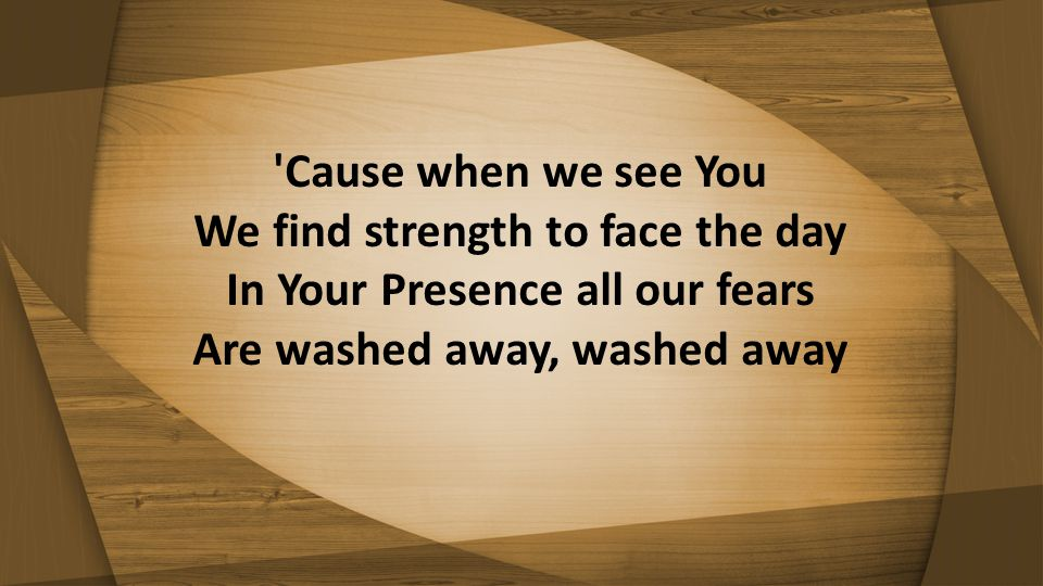 Cause when we see You We find strength to face the day In Your Presence all our fears Are washed away, washed away