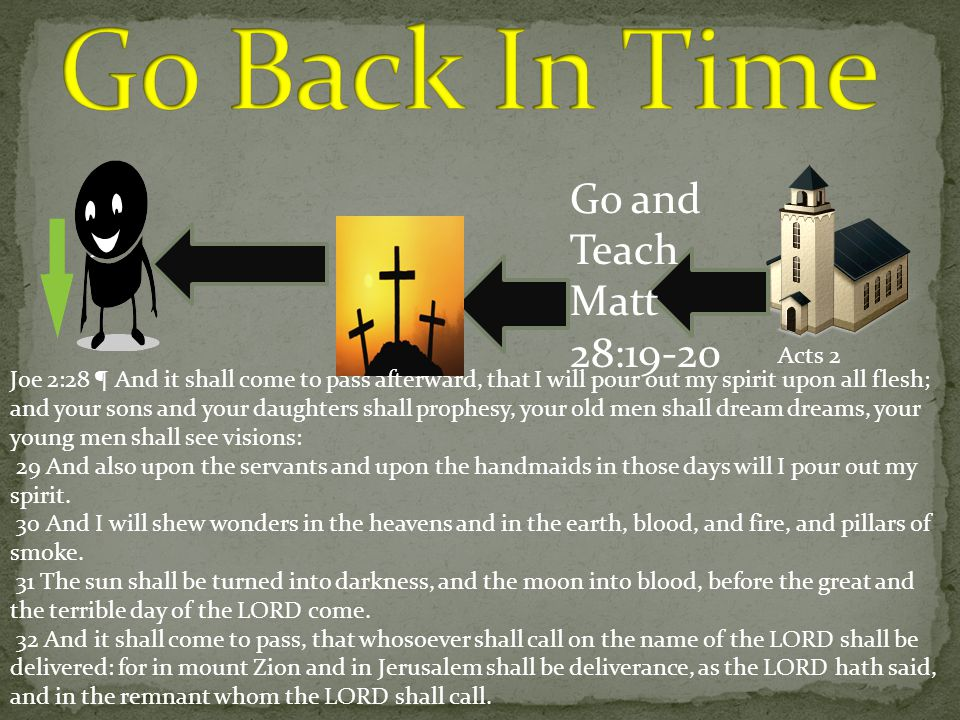Go Back In Time Go and Teach Matt 28:19-20 Acts 2
