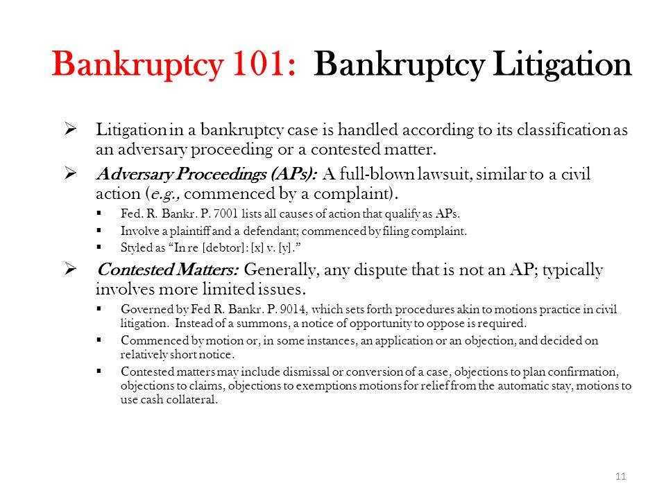 Bankruptcy 101: Bankruptcy Litigation