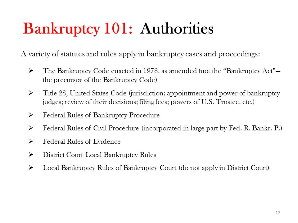 Bankruptcy 101: Authorities