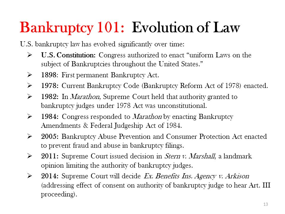 Bankruptcy 101: Evolution of Law