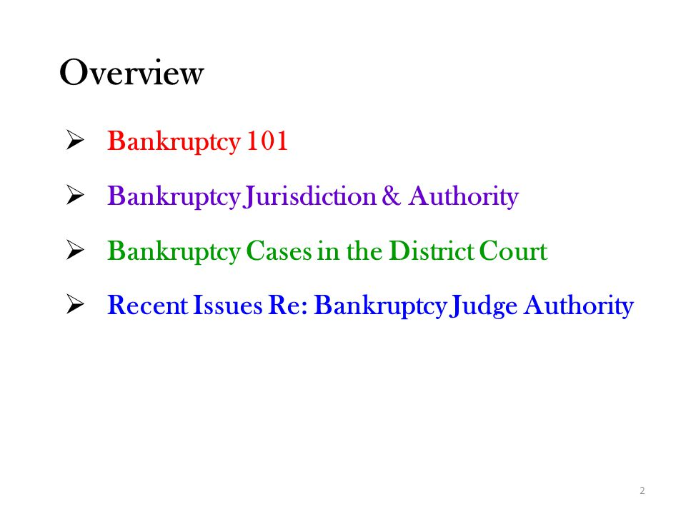 Overview Bankruptcy 101 Bankruptcy Jurisdiction & Authority