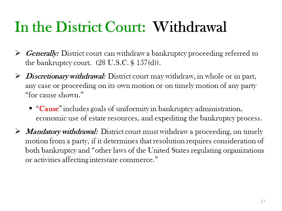 In the District Court: Withdrawal