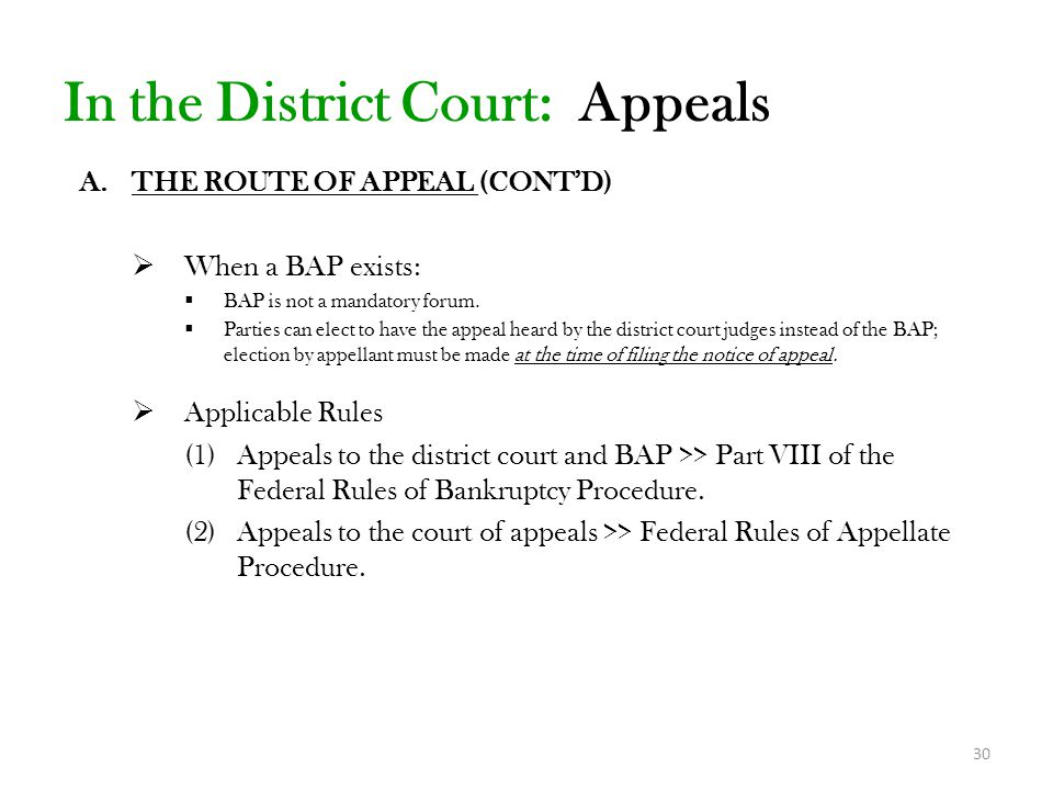 In the District Court: Appeals