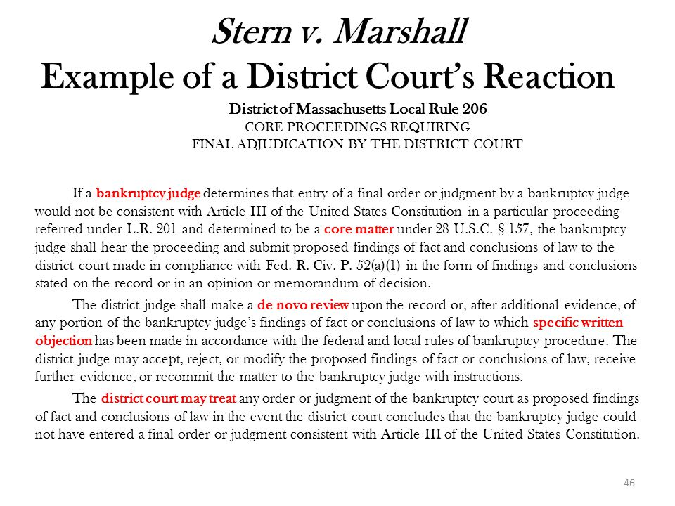 Stern v. Marshall Example of a District Court's Reaction