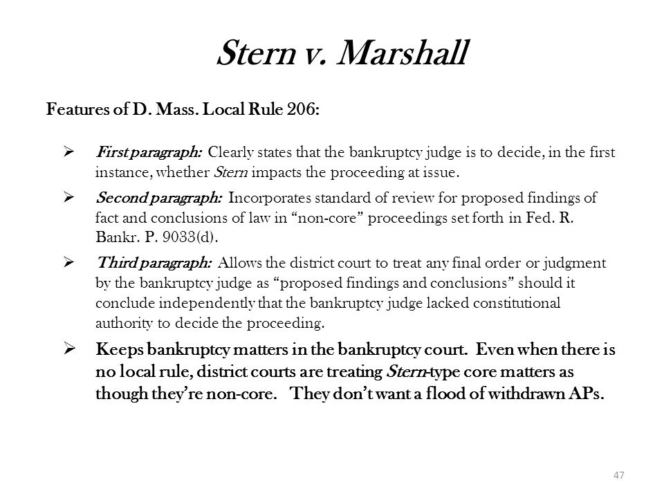 Stern v. Marshall Features of D. Mass. Local Rule 206:
