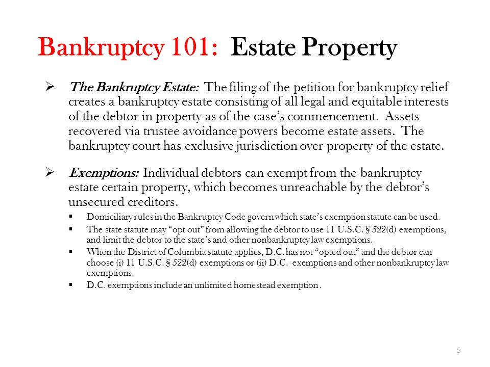 Bankruptcy 101: Estate Property