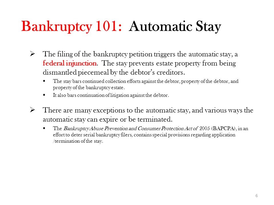Bankruptcy 101: Automatic Stay