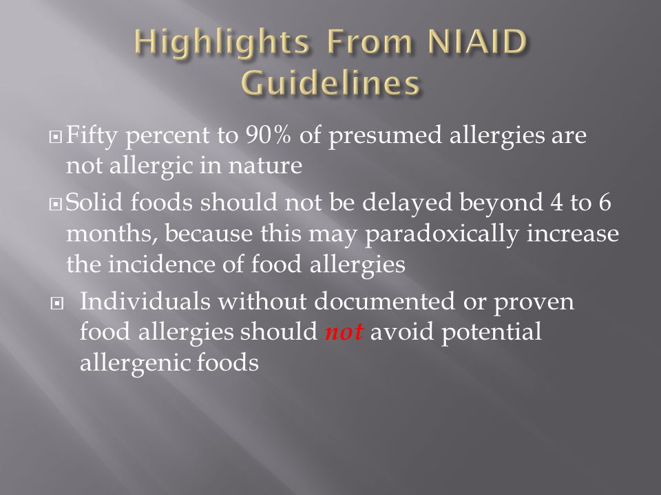 Highlights From NIAID Guidelines