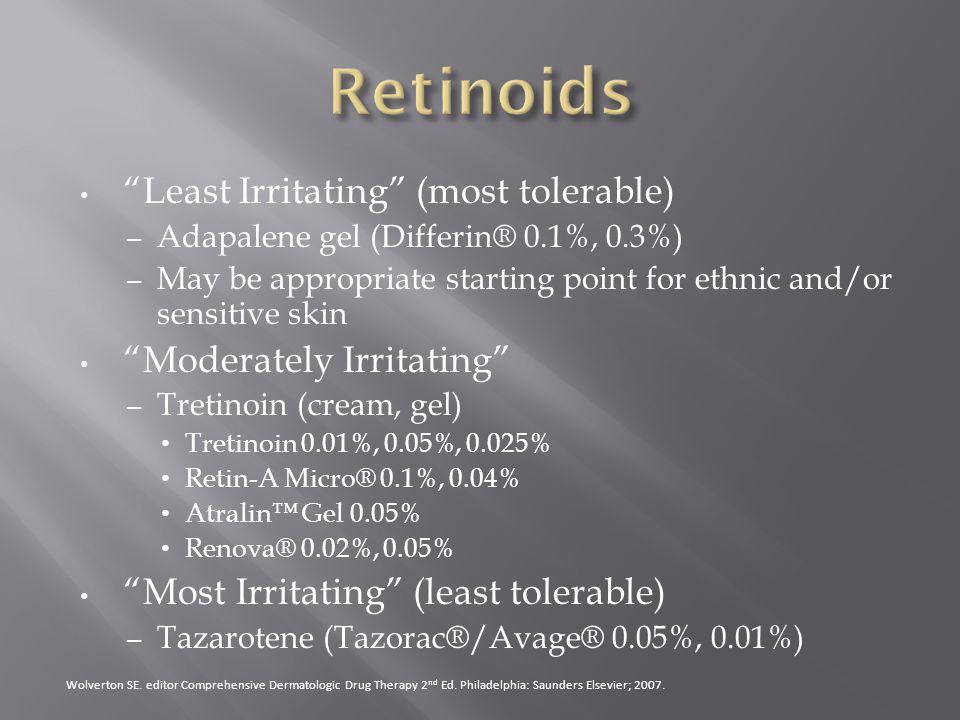 Retinoids Least Irritating (most tolerable) Moderately Irritating