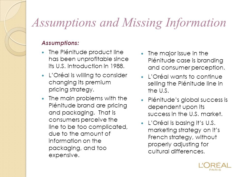 Assumptions and Missing Information