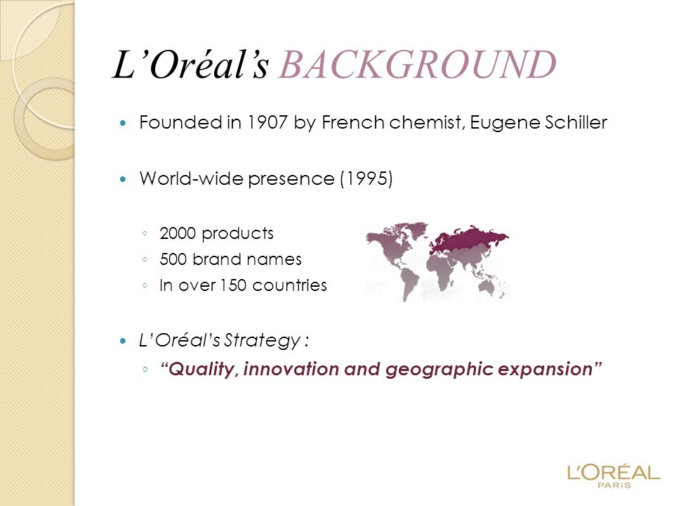 L'Oréal's BACKGROUND Founded in 1907 by French chemist, Eugene Schiller. World-wide presence (1995)