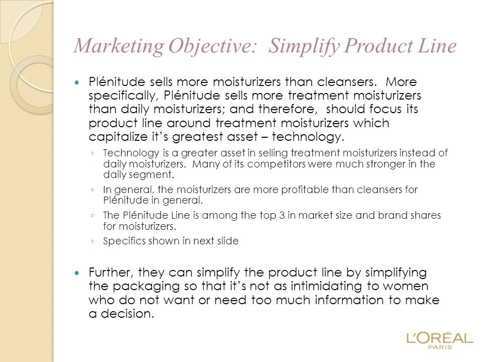 Marketing Objective: Simplify Product Line