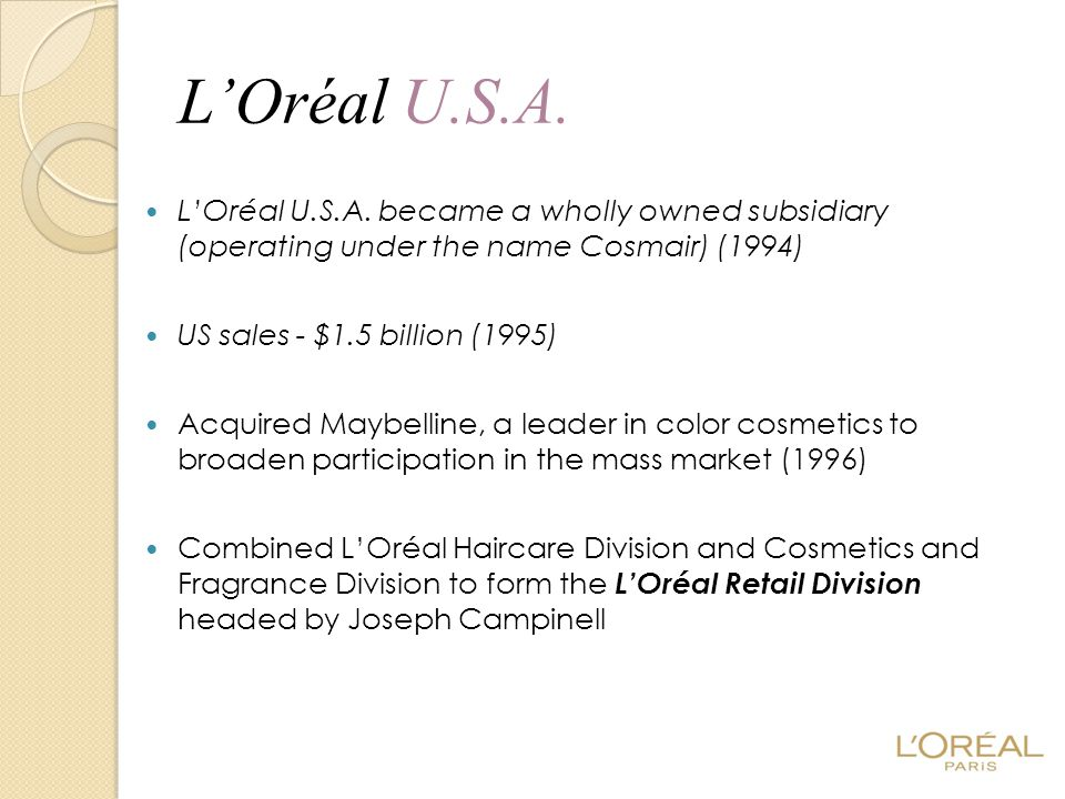L'Oréal U.S.A. L'Oréal U.S.A. became a wholly owned subsidiary (operating under the name Cosmair) (1994)