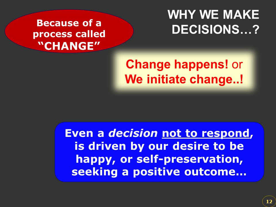 WHY WE MAKE DECISIONS… Change happens! or We initiate change..!
