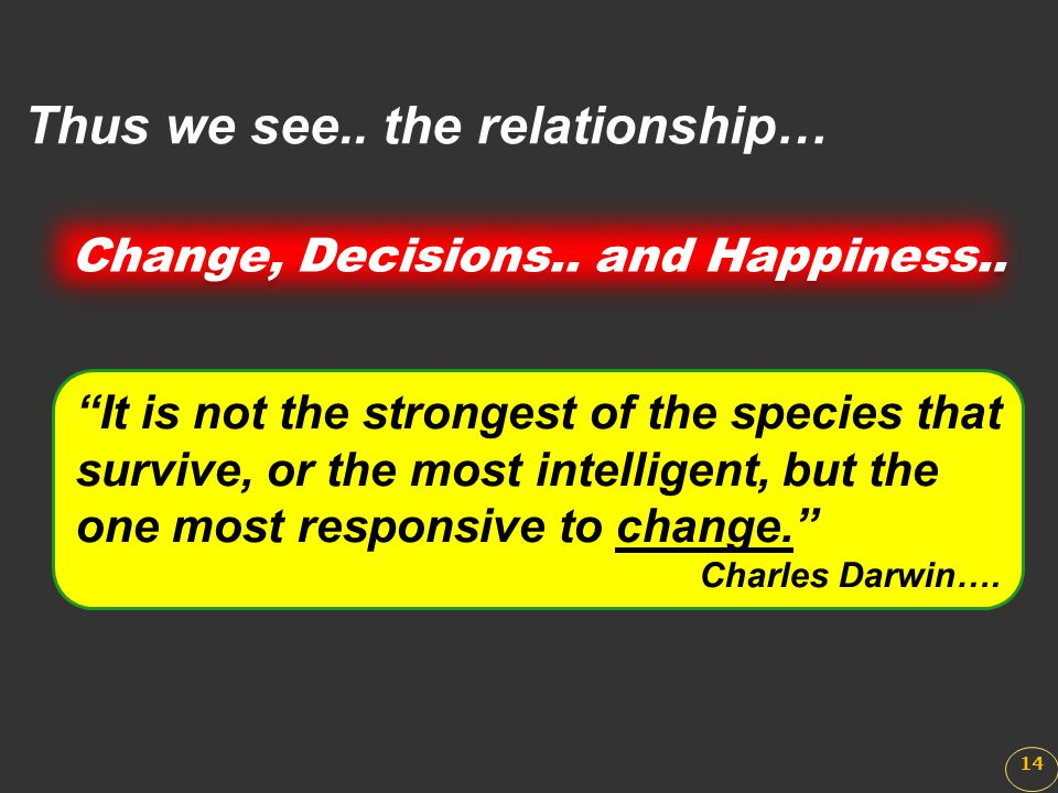 Change, Decisions.. and Happiness..