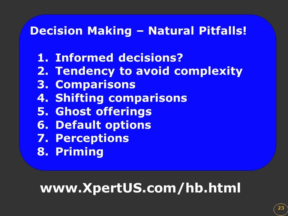 www.XpertUS.com/hb.html Decision Making – Natural Pitfalls!