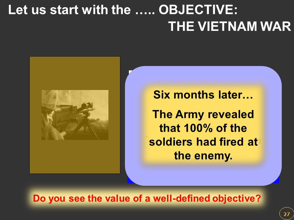 Let us start with the ….. OBJECTIVE: THE VIETNAM WAR