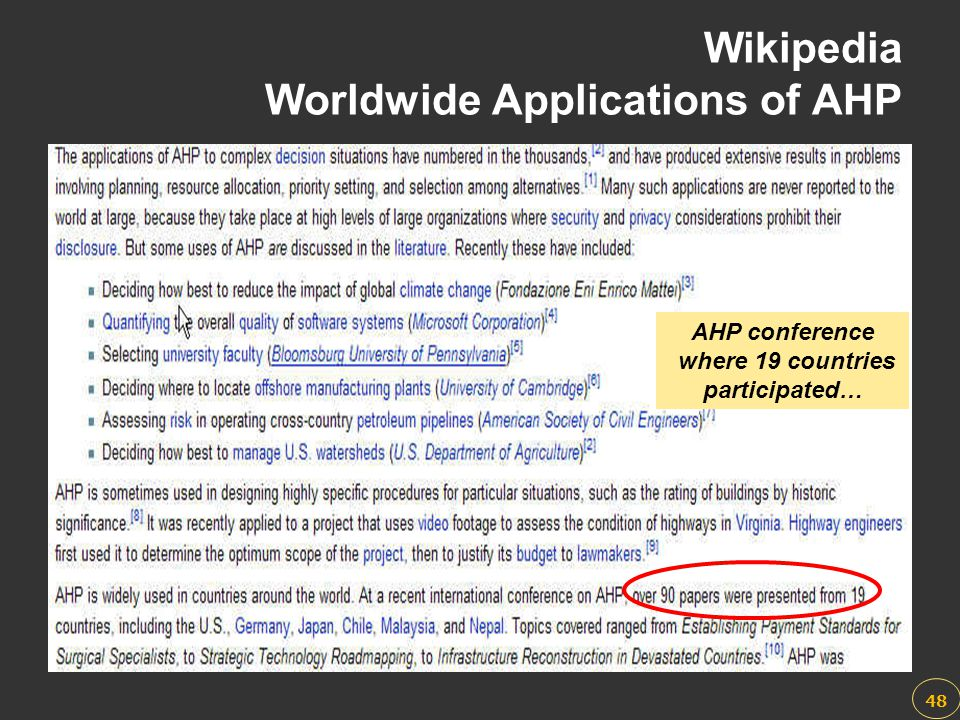 Wikipedia Worldwide Applications of AHP
