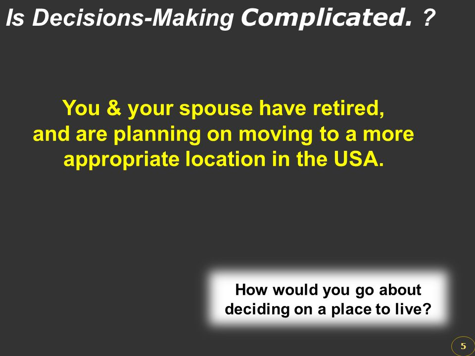 Is Decisions-Making Complicated.