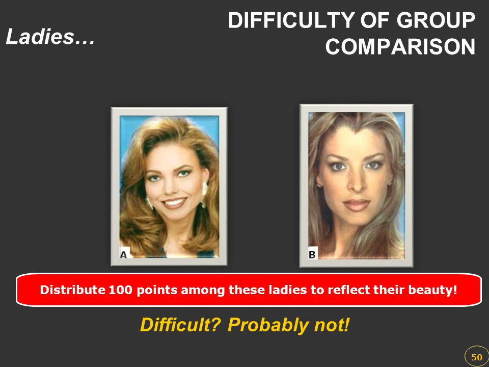 DIFFICULTY OF GROUP COMPARISON