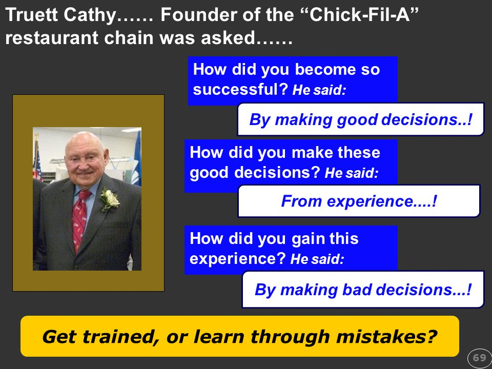 Truett Cathy…… Founder of the Chick-Fil-A restaurant chain was asked……