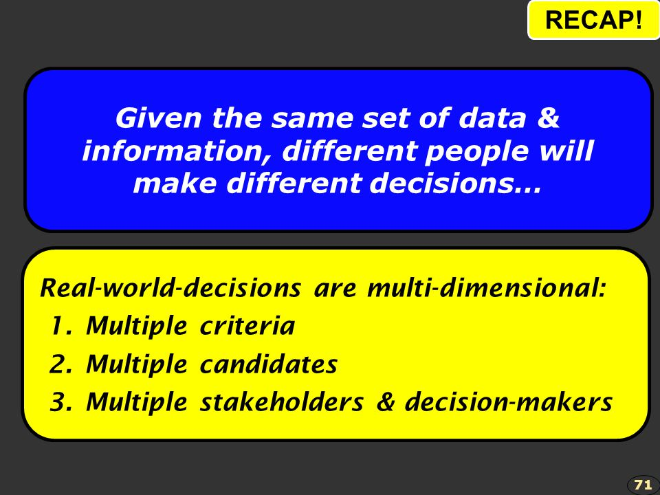 RECAP! Given the same set of data & information, different people will make different decisions… Real-world-decisions are multi-dimensional: