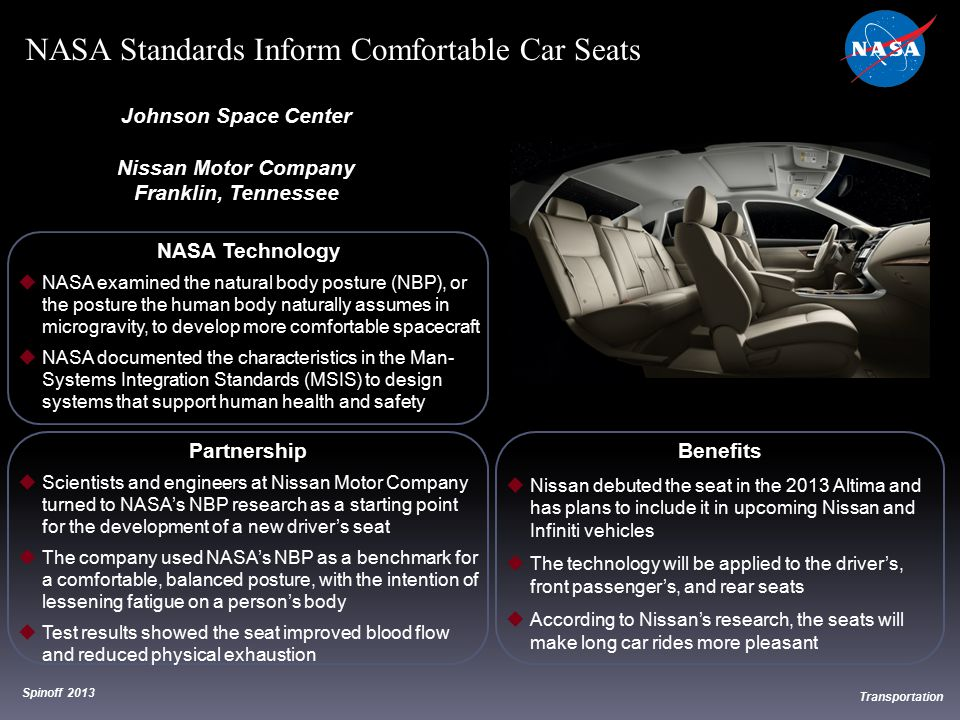 NASA Standards Inform Comfortable Car Seats