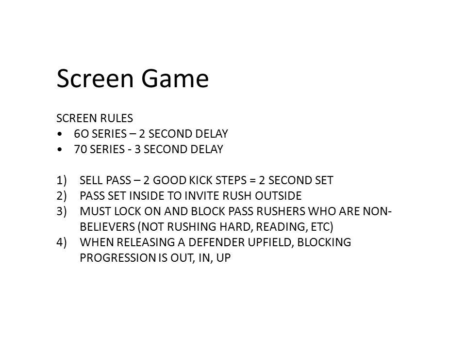 Screen Game SCREEN RULES 6O SERIES – 2 SECOND DELAY