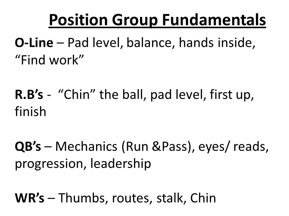 Position Group Fundamentals