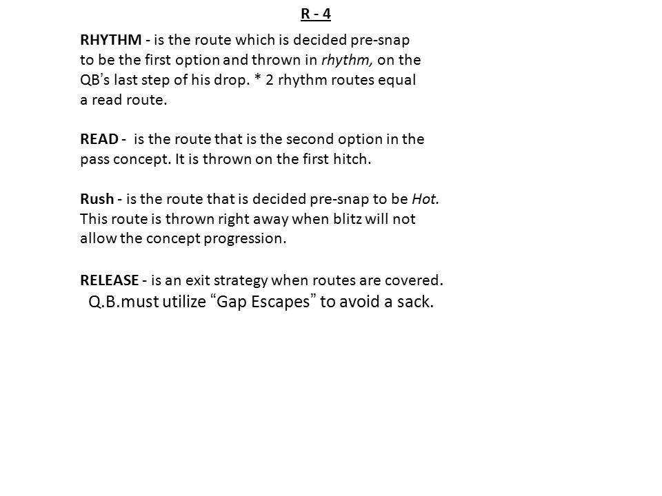 Q.B.must utilize Gap Escapes to avoid a sack.