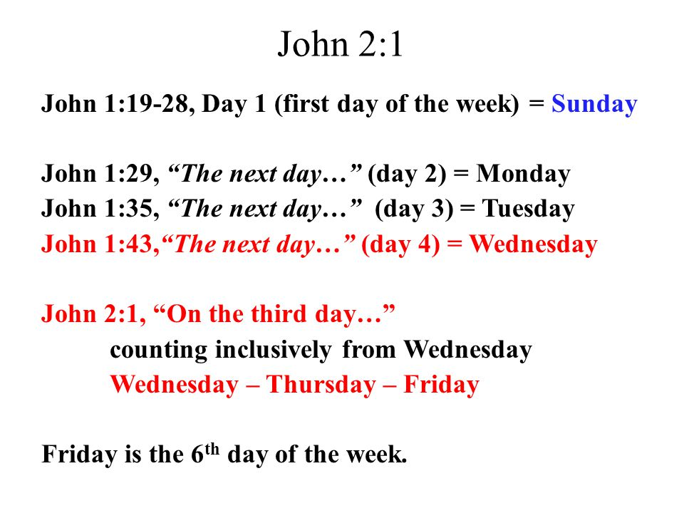 John 2:1 John 1:19-28, Day 1 (first day of the week) = Sunday