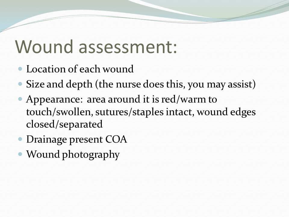 Wound assessment: Location of each wound