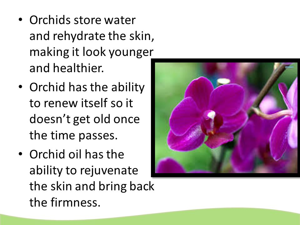 Orchids store water and rehydrate the skin, making it look younger and healthier.