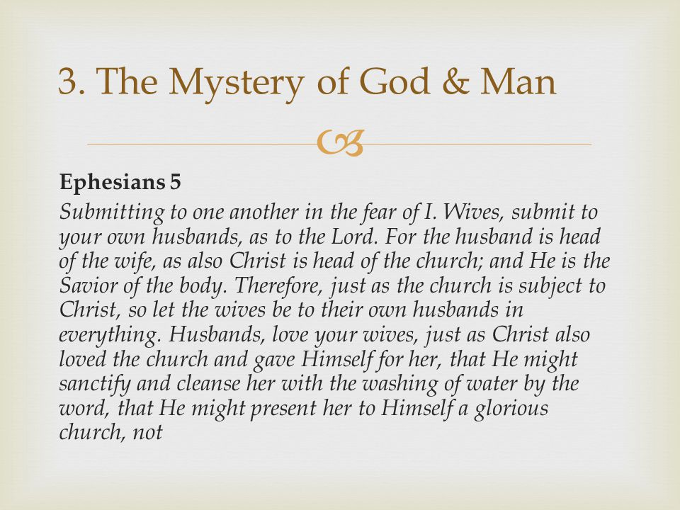 3. The Mystery of God & Man
