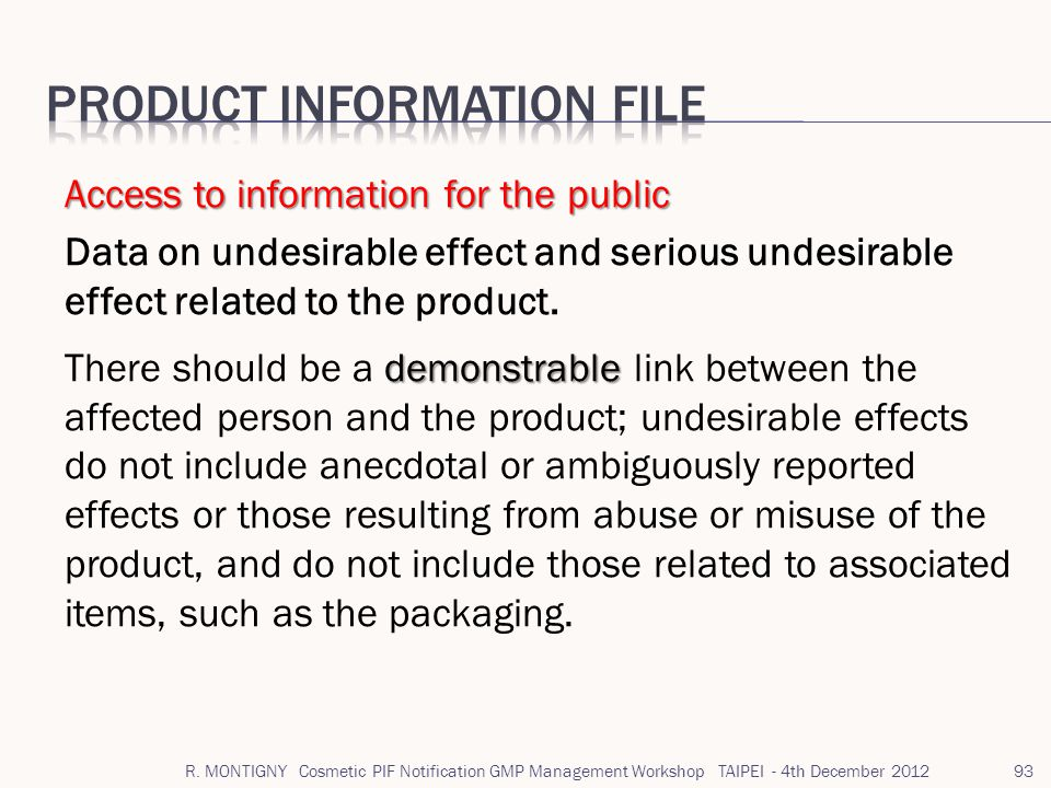 Product information file
