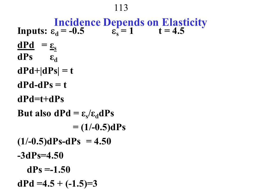 Incidence Depends on Elasticity