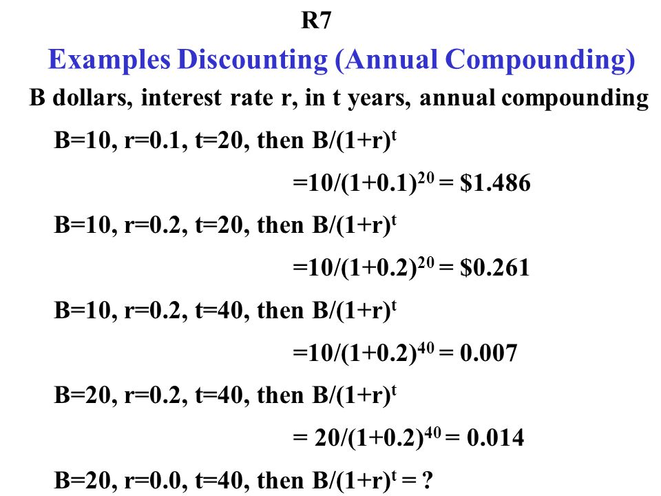 Examples Discounting (Annual Compounding)