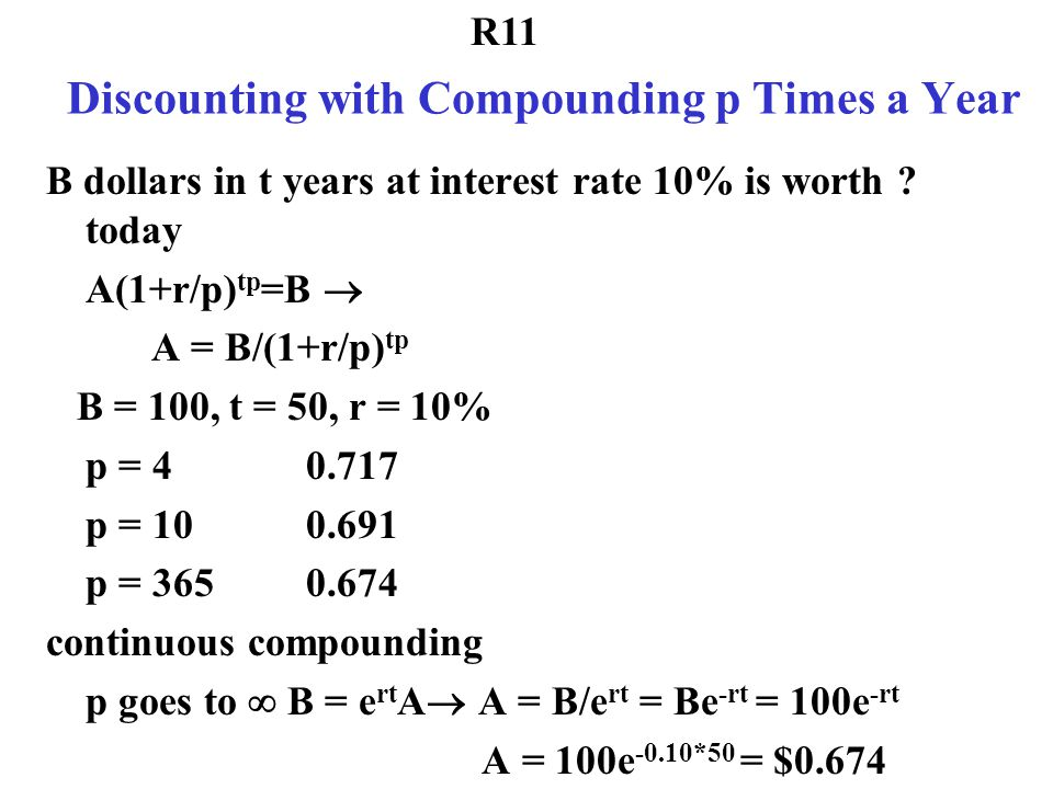 Discounting with Compounding p Times a Year