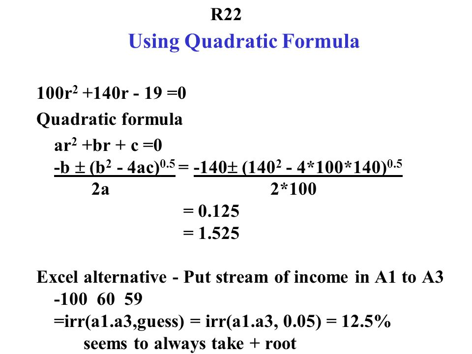 Using Quadratic Formula