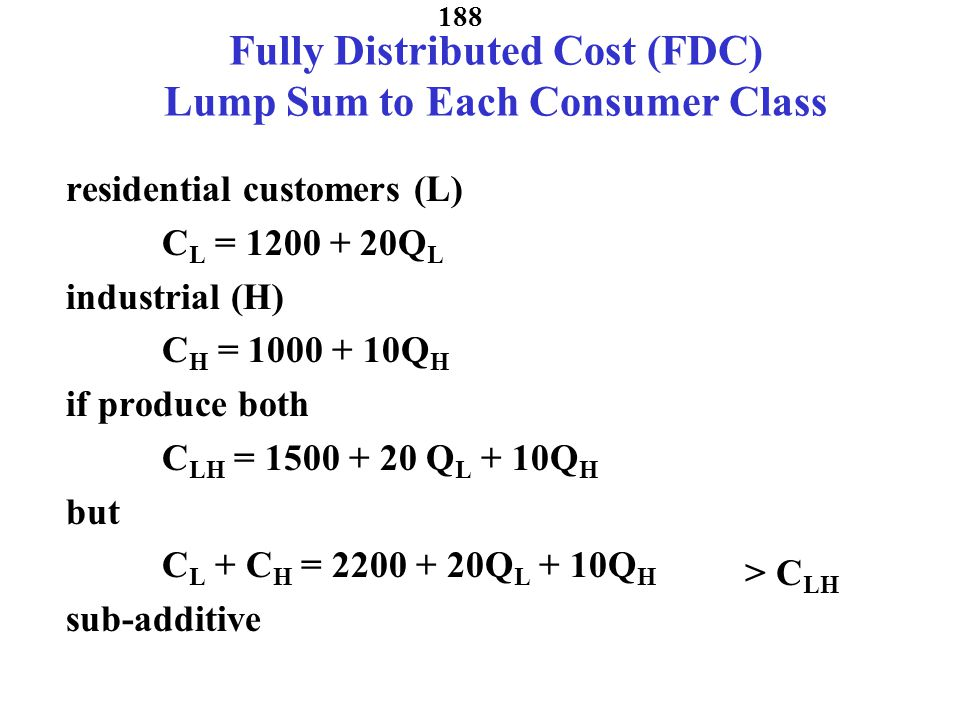 Fully Distributed Cost (FDC) Lump Sum to Each Consumer Class