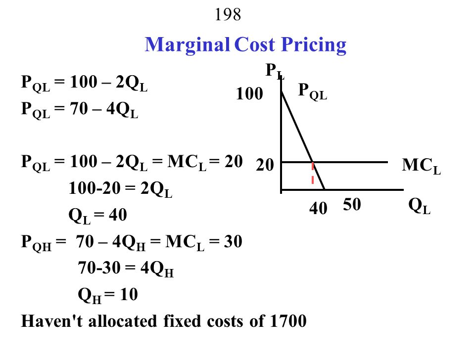 Marginal Cost Pricing PL PQL = 100 – 2QL PQL = 70 – 4QL