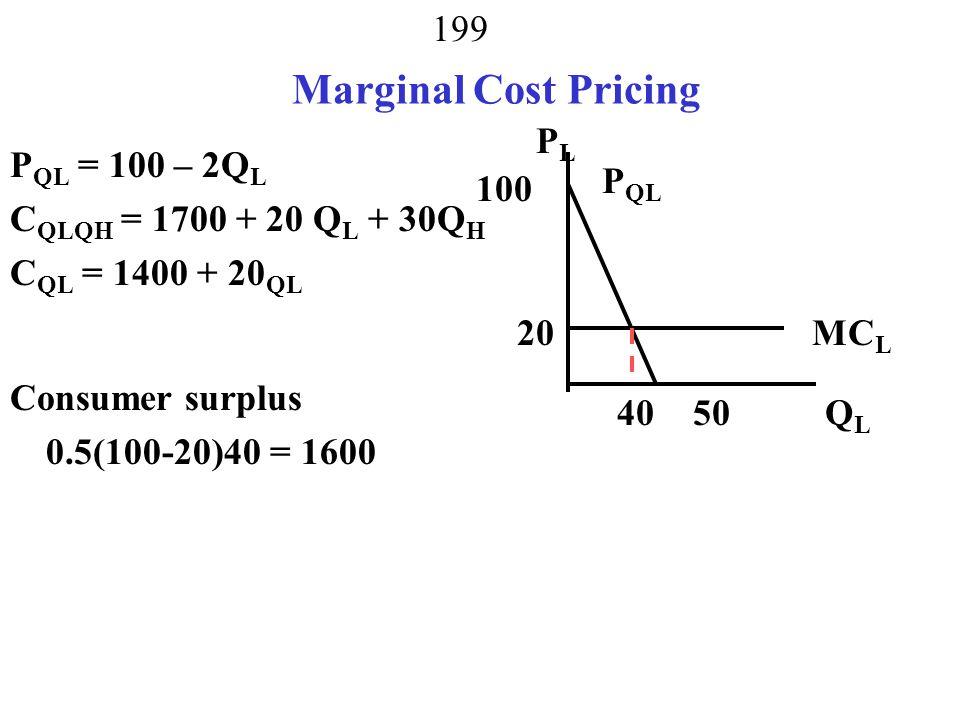Marginal Cost Pricing PL PQL = 100 – 2QL CQLQH = 1700 + 20 QL + 30QH
