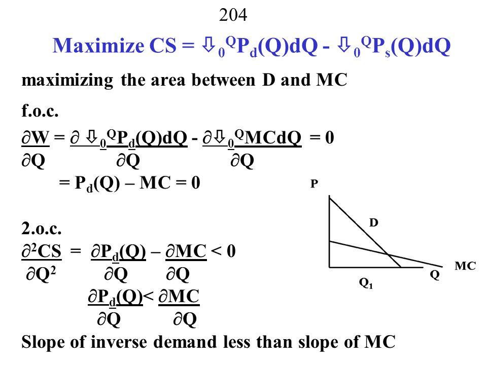 Maximize CS = 0QPd(Q)dQ - 0QPs(Q)dQ