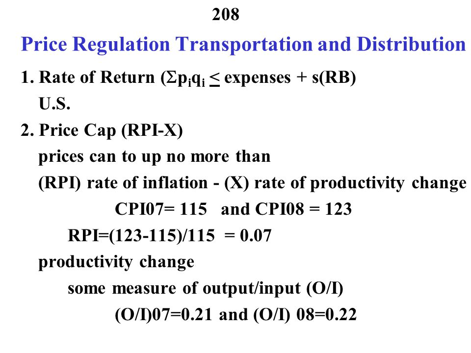 Price Regulation Transportation and Distribution