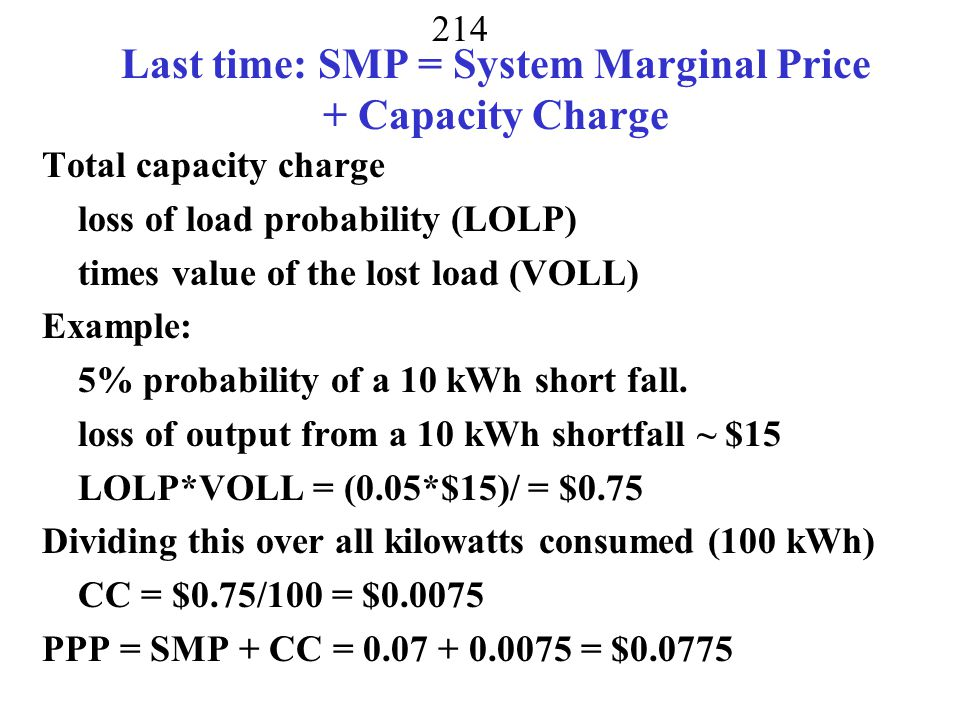 Last time: SMP = System Marginal Price + Capacity Charge