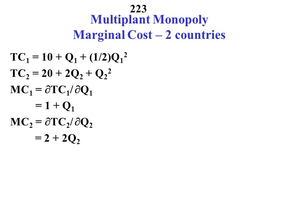 Multiplant Monopoly Marginal Cost – 2 countries